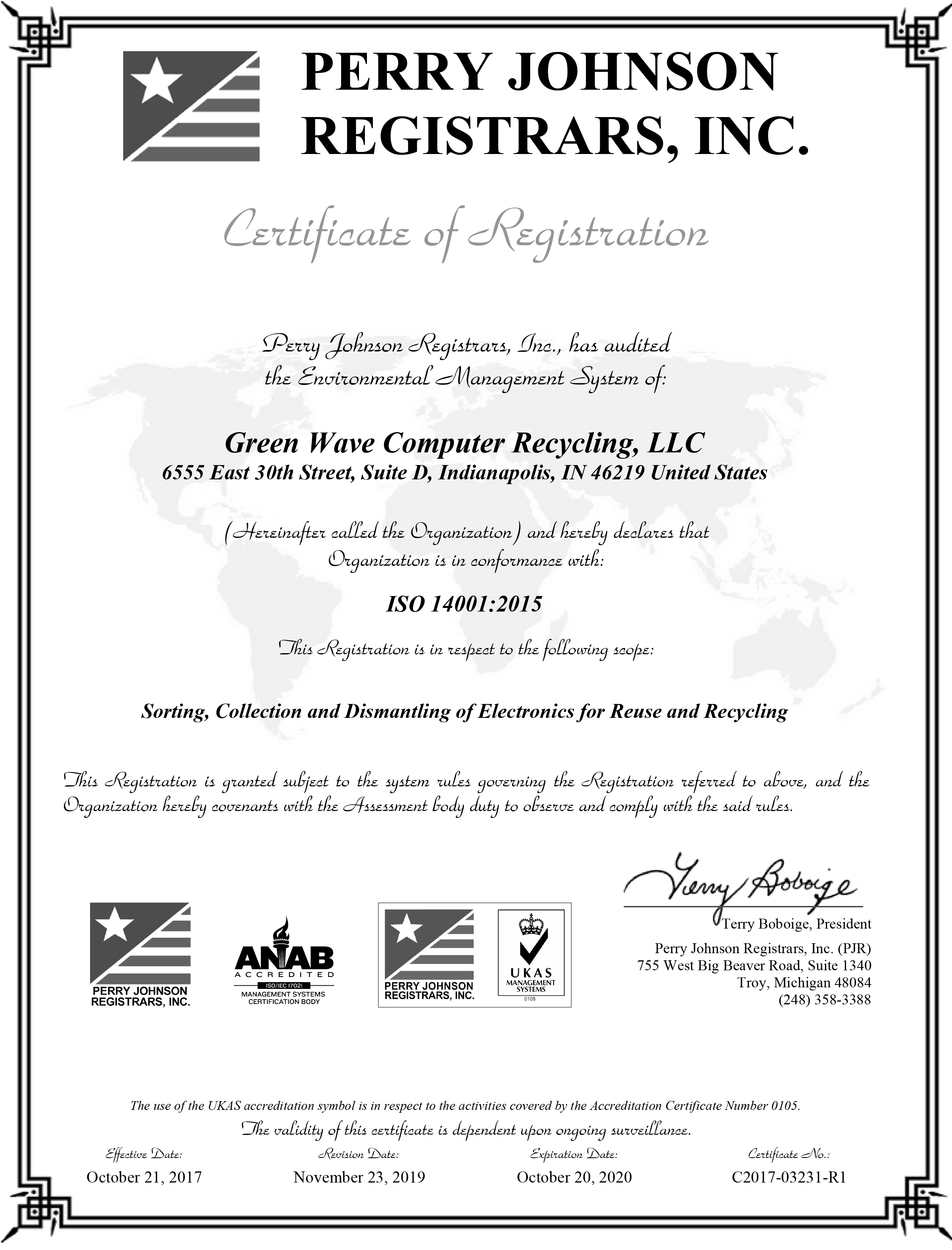 Green Wave Computer Recycling ISO-14 Certification