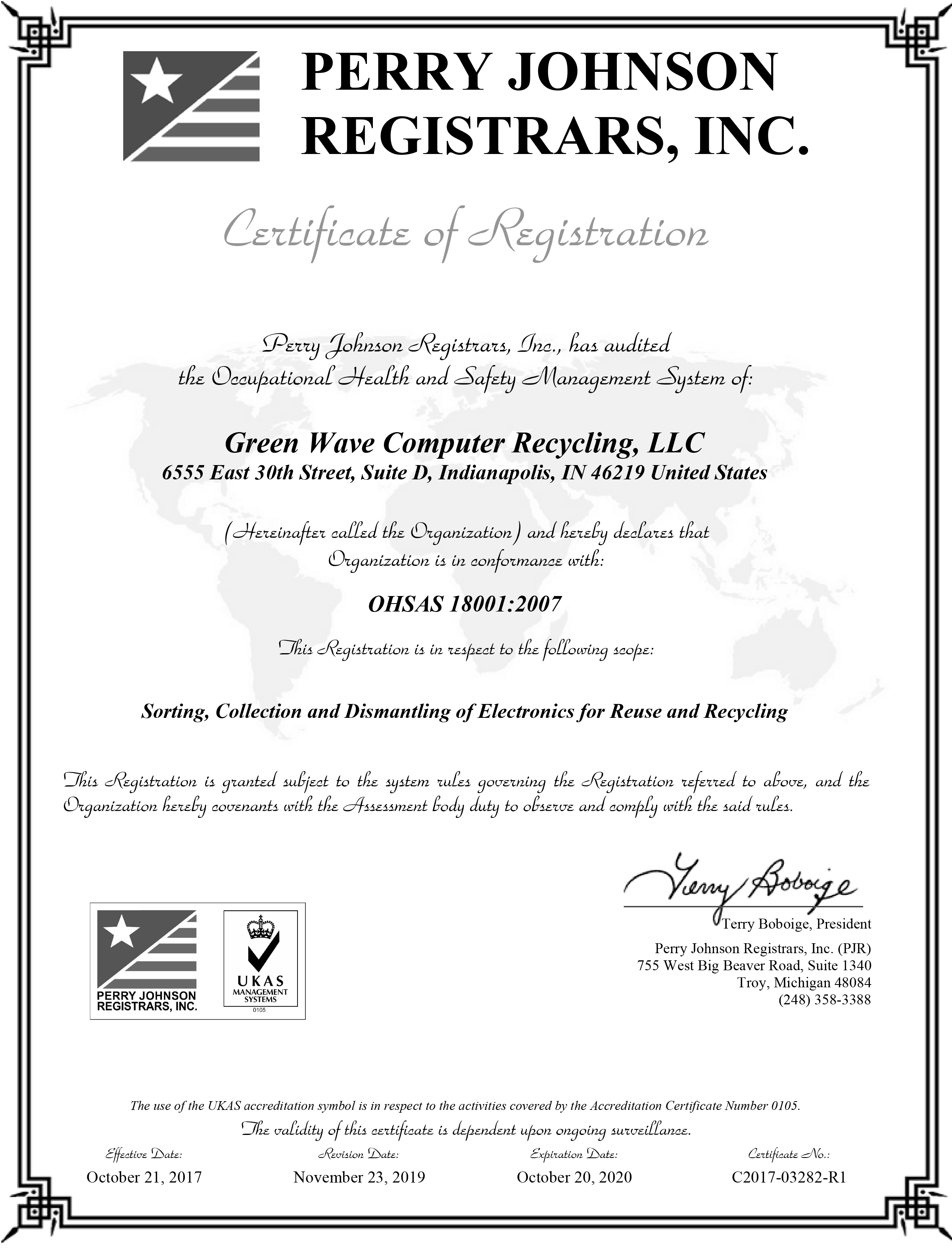 Green Wave Computer Recycling OHSAS Certification