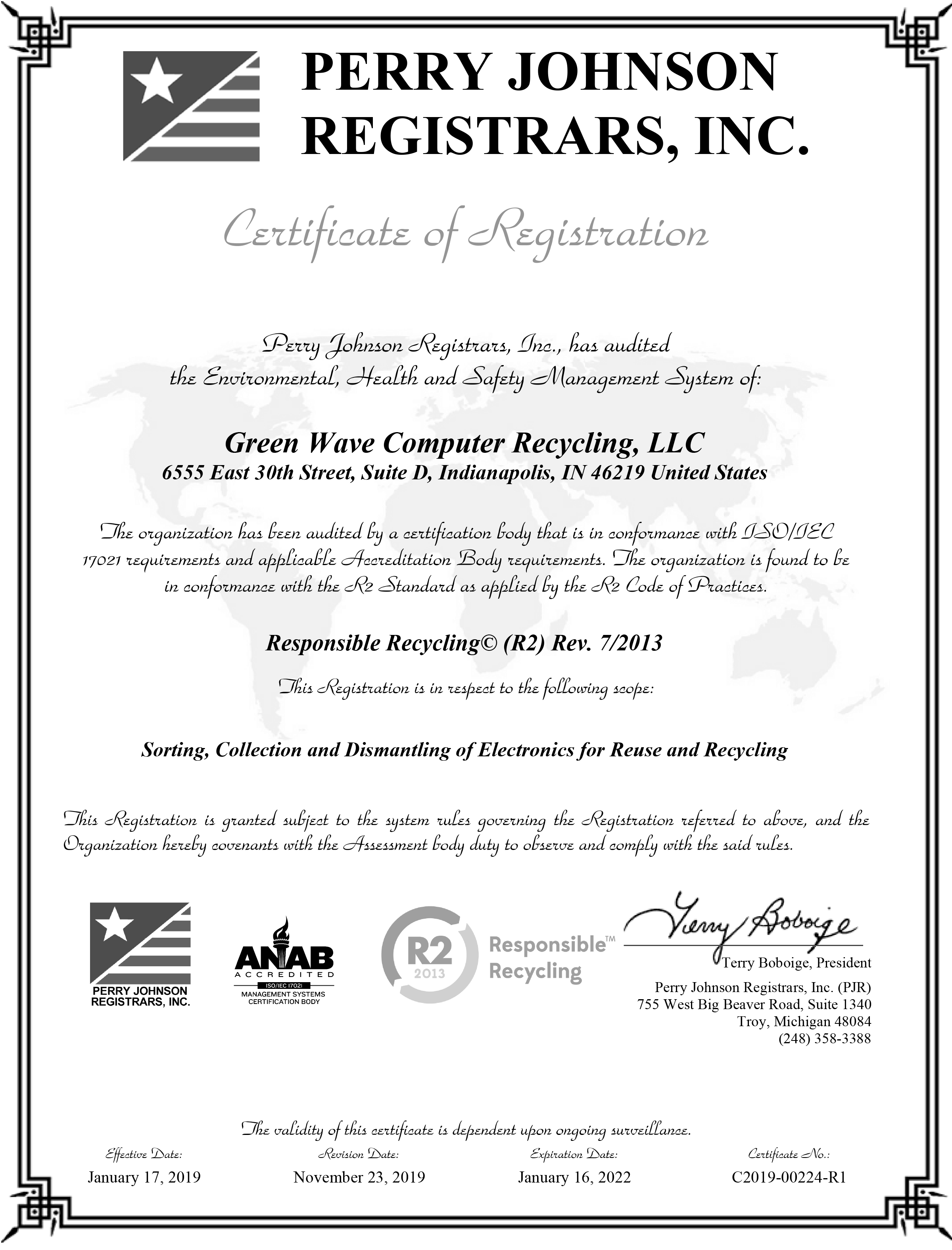 Green Wave Computer Recycling R2 Certification